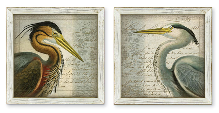 7469: Framed Heron Wall Art (Set of Two) (Product Detail)