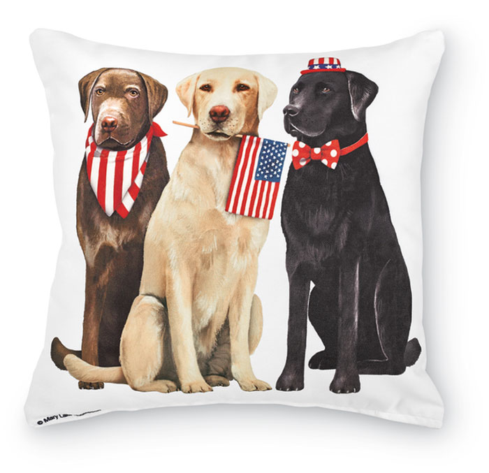 7459: Patriotic Dogs Pillow (Product Detail)