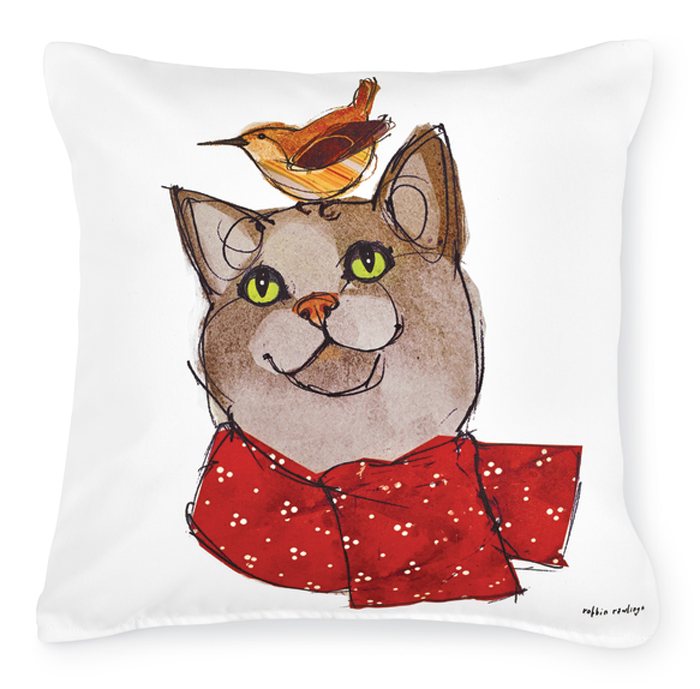 7492: Wren and Adoring Feline Friend Pillow (Product Detail)