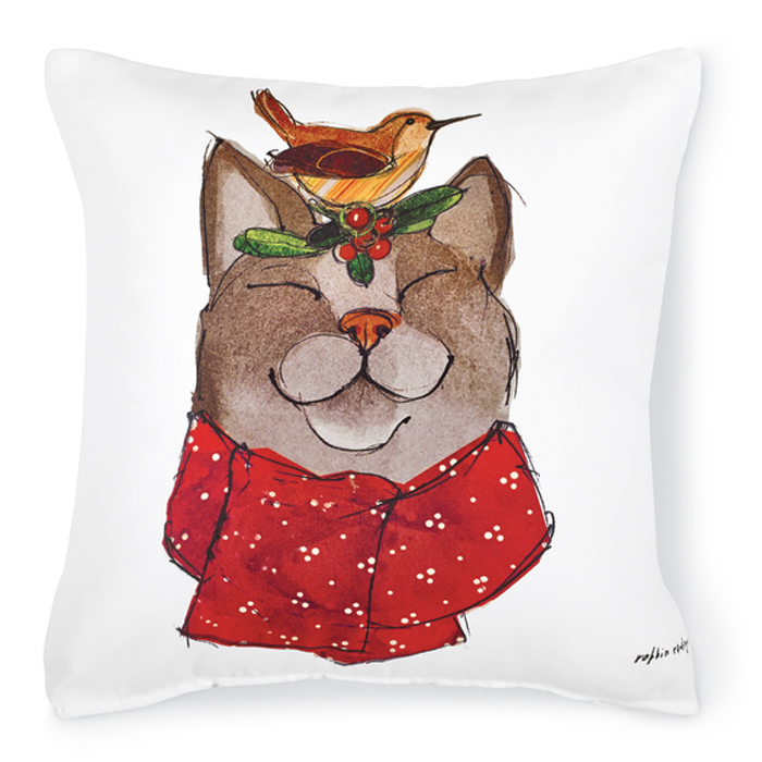 7493: Wren and Purring Feline Friend Pillow (Product Detail)