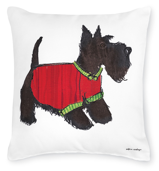7494: Scottie in Holiday Sweater Pillow (Product Detail)