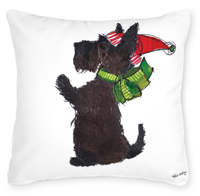 7495: Scottie in Holiday Hat and Scarf Pillow (Product Detail)