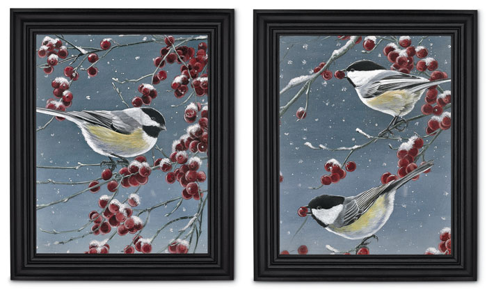 7491: Winter Chickadees Wall Art (Set of Two) (Product Detail)