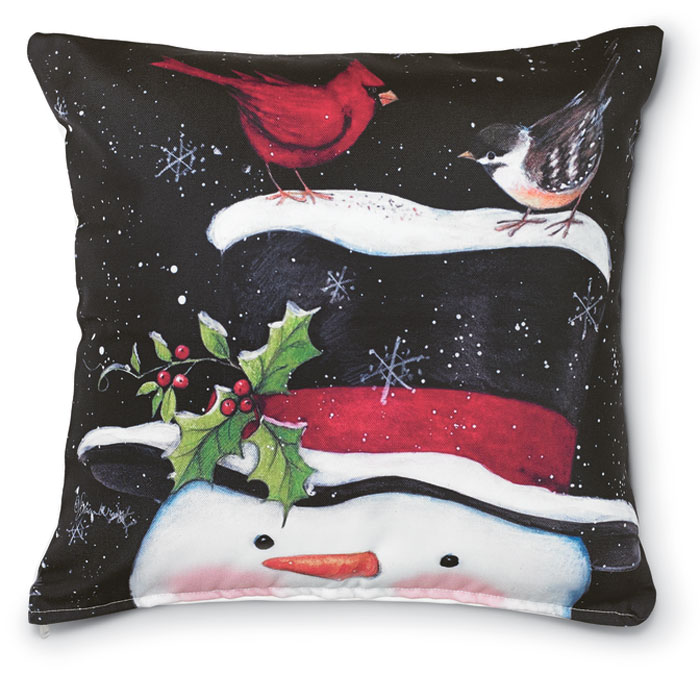7544: Snowman with Feathered Friends Pillow (Product Detail)