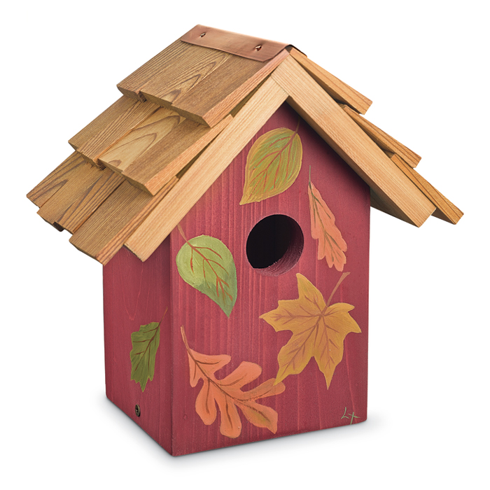 7542: Hand-Painted Autumn Leaves Birdhouse (Product Detail)