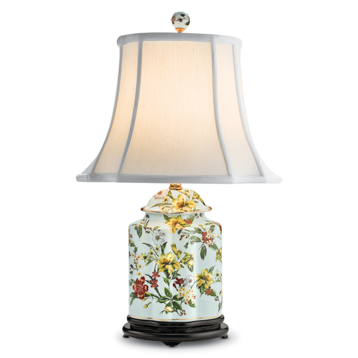 7546: Yellow Floral Scalloped Lamp (Product Detail)