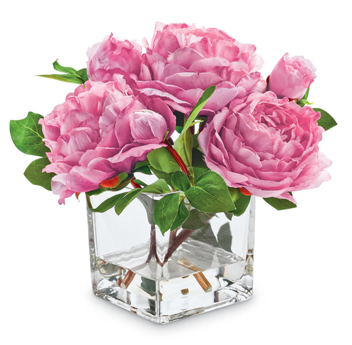 7563: Pink Peonies in Glass Vase (Product Detail)
