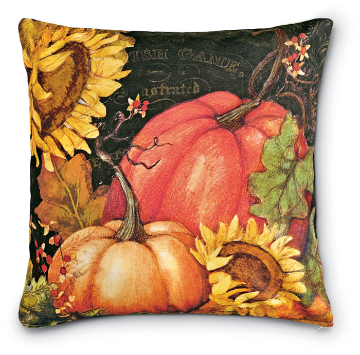 7637: Pumpkins and Sunflowers I Pillow (Product Detail)