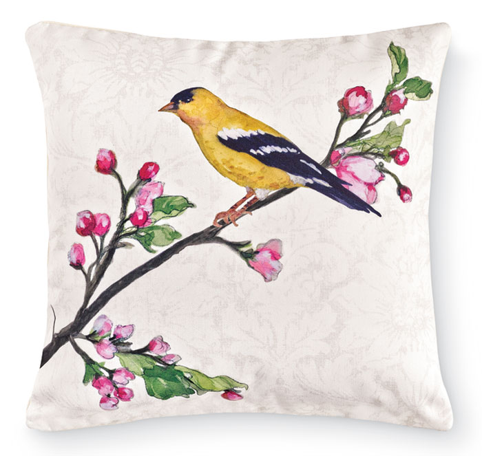 7680: Birds and Cherry Blossoms Pillow - Goldfinch (Product Detail)