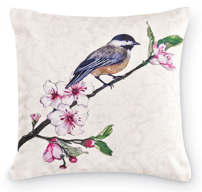 7681: Birds and Cherry Blossoms Pillow - Chickadee (Product Detail)
