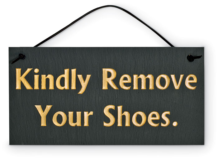 "7628: ""Kindly Remove Your Shoes"" Sign (Product Detail)"