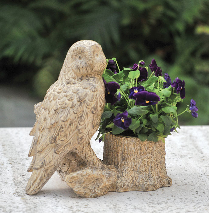 7640: Owl Planter with Faux Bois Finish (Product Detail)