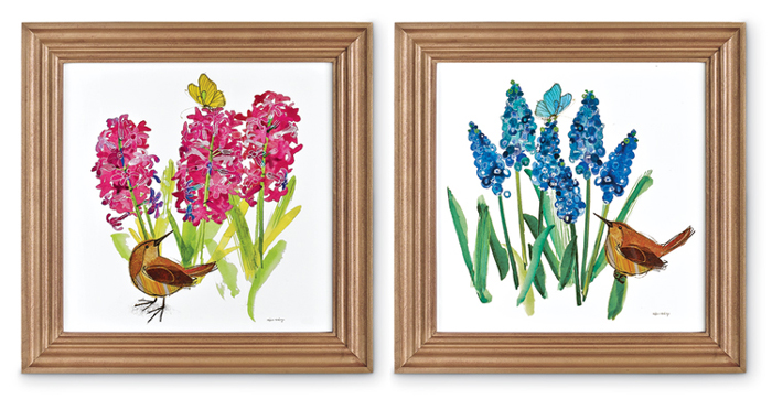 7732: Wren and Blooming Bulbs Wall Art (Set of Two) (Product Detail)