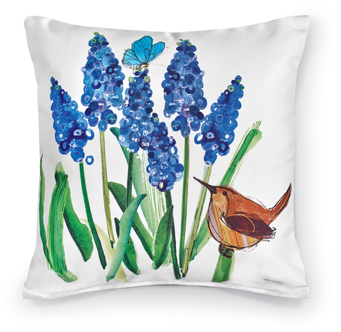 7797: Wren with Blue Bulbs Pillow (Product Detail)