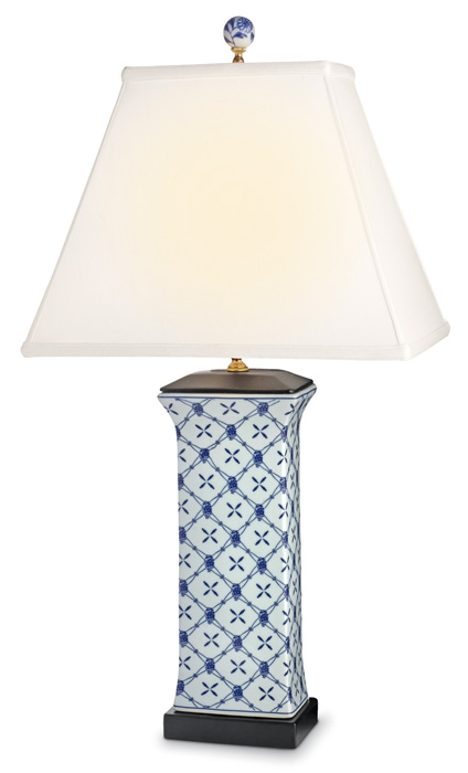 7891: Blue and White Lattice Lamp - Large (Product Detail)