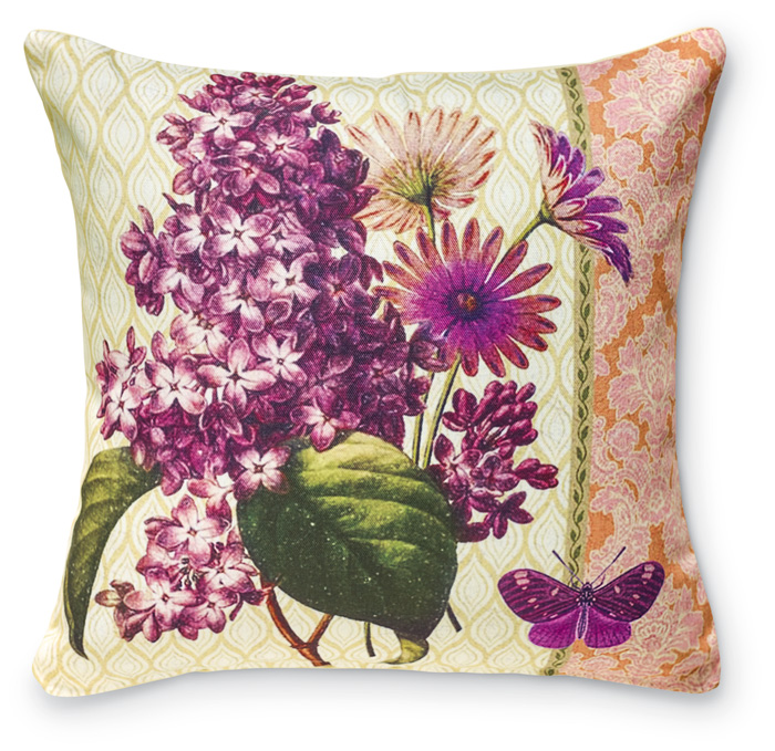 7931: Lilacs and Purple Butterfly Pillow (Product Detail)