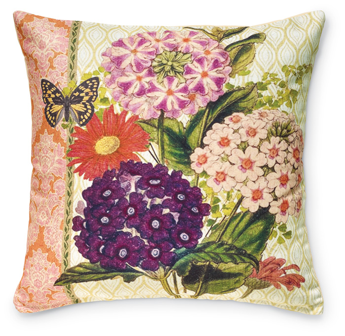 7932: Lilacs and Yellow Butterfly Pillow (Product Detail)
