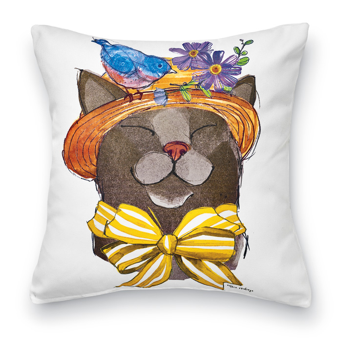 7936: Feline Pal and Blue Bird Pillow (Product Detail)