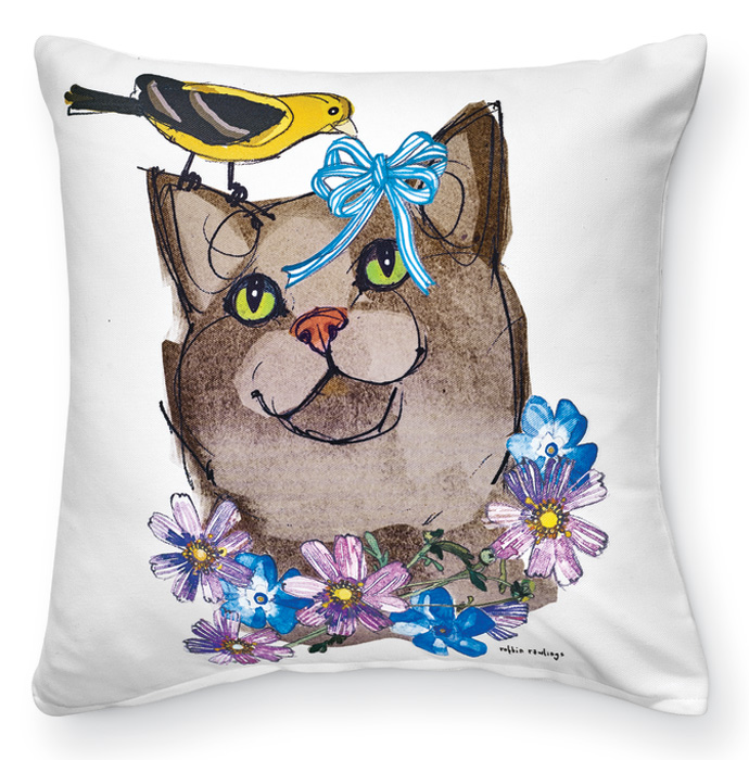 7937: Feline Pal and Yellow Bird Pillow (Product Detail)
