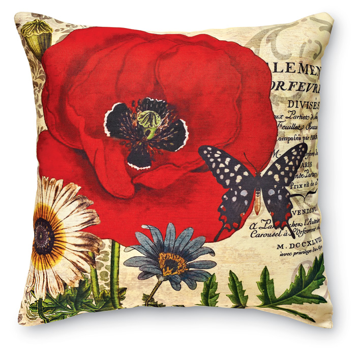 7933: Red Poppies and Butterfly I Pillow (Product Detail)