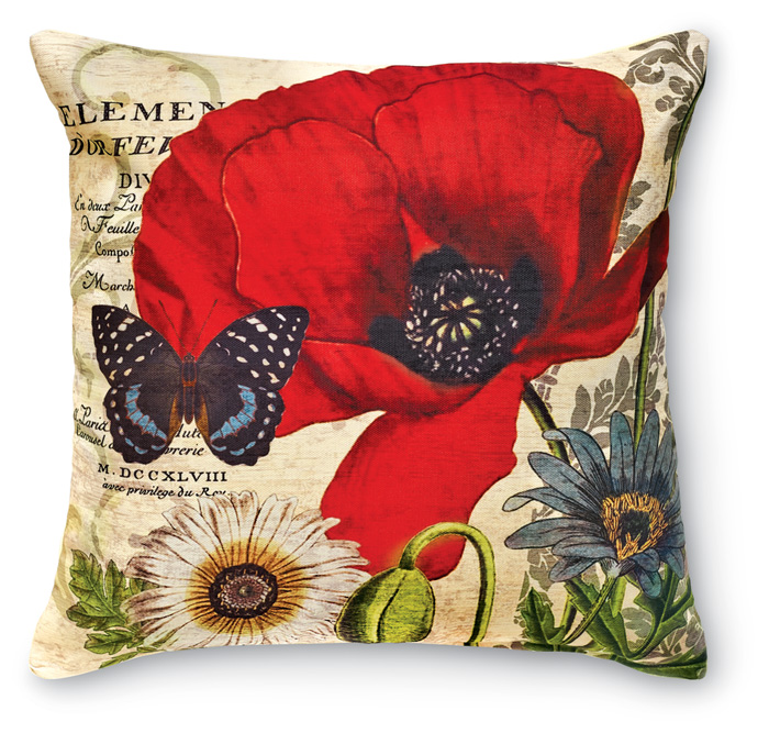 7934: Red Poppies and Butterfly II Pillow (Product Detail)