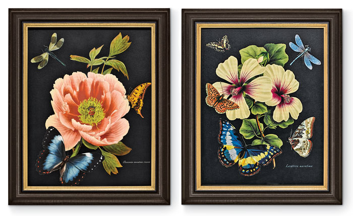 8300: Black Floral Wall Art (Set of Two) (Product Detail)