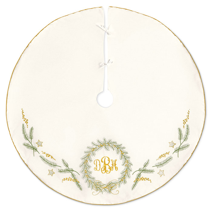 8154: Embroidered Tree Skirt with Monogram (Product Detail)