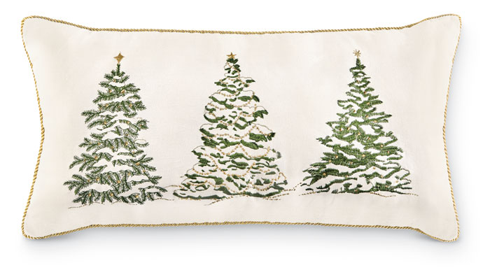8193: Embroidered Trees Lumbar Pillow (Product Detail)