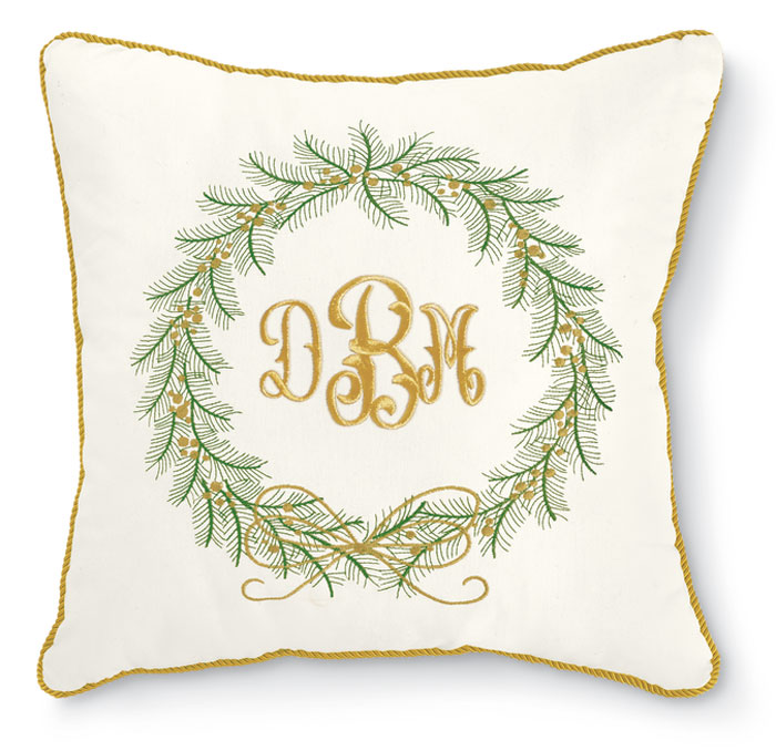 8229: Embroidered Wreath Pillow with Monogram (Product Detail)