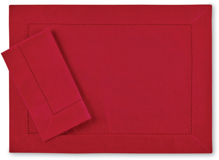 7989: Holiday Red Placemats with Hemstitch (Set of Four) (Product Detail)