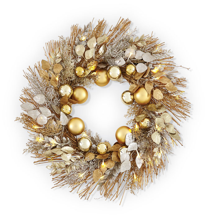 8197: Gold Wreath with LED Lights (Product Detail)