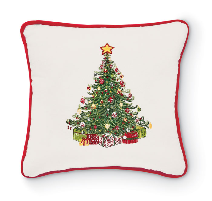 8218: Embroidered Tree Pillow with Red Welt (Product Detail)