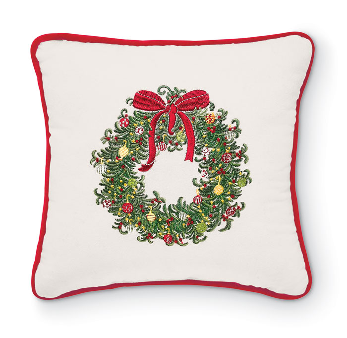 8219: Embroidered Wreath Pillow with Red Welt (Product Detail)