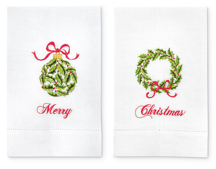 8261: Merry Christmas Embroidered Towels (Set of Two) (Product Detail)