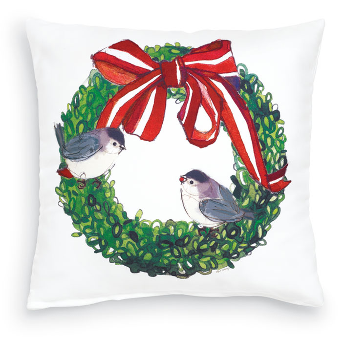8388: Holiday Chickadees Pillow (Product Detail)