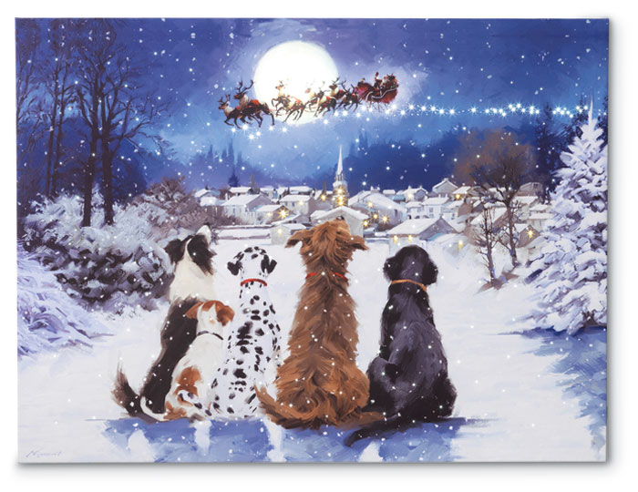8179: Lighted Dogs Watching Santa Print (Product Detail)