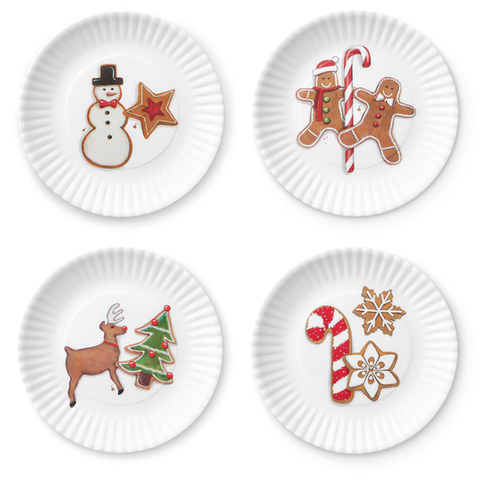 8264: Holiday Cookie Melamine Plates (Set of Four) (Product Detail)