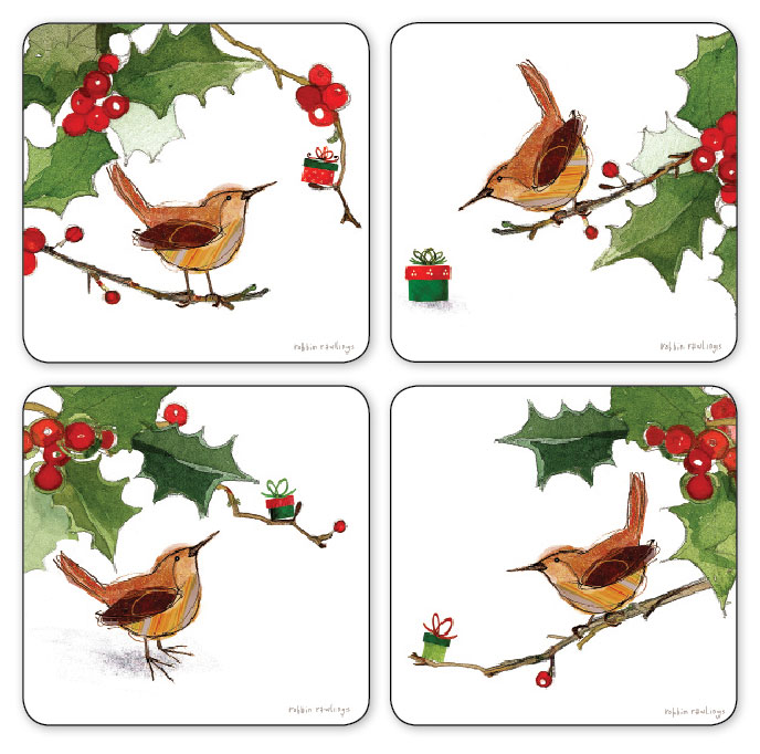 8395: Wren and Holly Coasters (Set of Four) (Product Detail)
