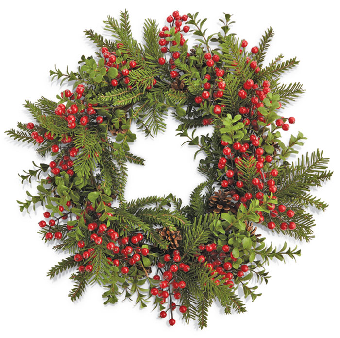 8107: Outdoor Berries and Boxwood Wreath (Product Detail)