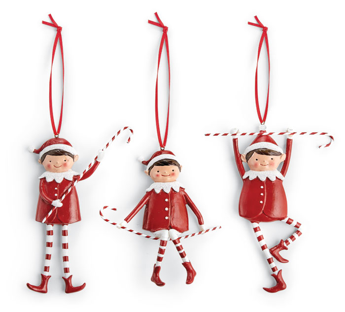 7968: Red and White Elf Ornaments (Set of Three) (Product Detail)
