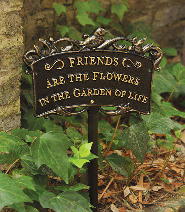 "8410: ""Friends Are the Flowers"" Bird Sign/Bronze (Product Detail)"