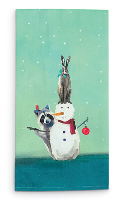 8414: Snowman with Raccoon and Rabbit Tea Towel (Product Detail)