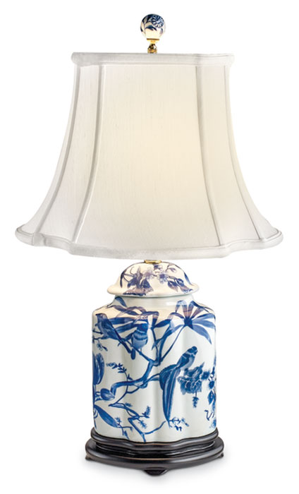 8552: Blue and White Scalloped Jar Lamp with Birds (Product Detail)