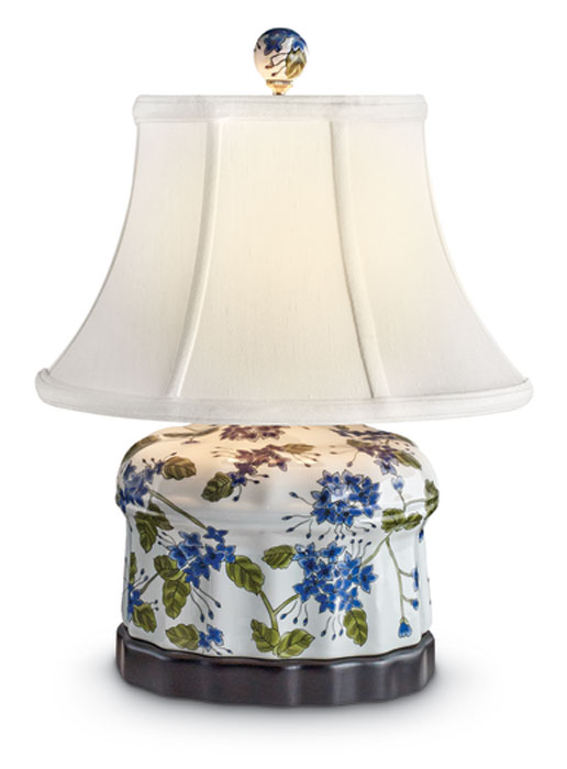 8553: Blue Flowers with Greenery Scalloped Jar Lamp (Product Detail)