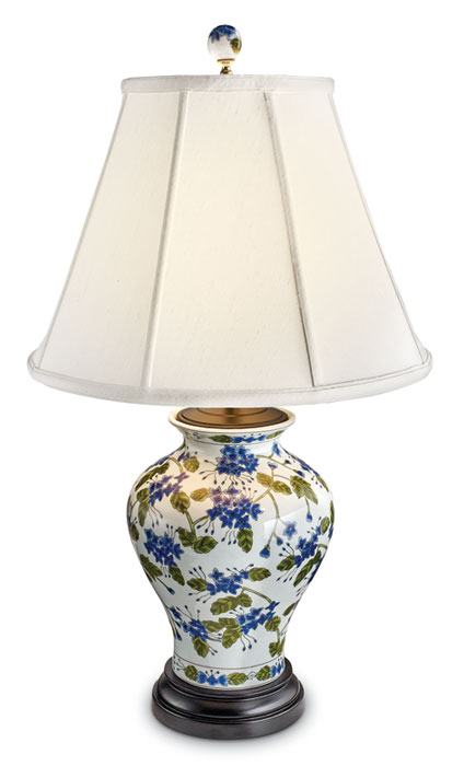 8554: Blue Flowers with Greenery Classic Jar Lamp (Product Detail)