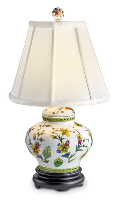8558: Yellow Floral Lamp with Chartreuse Trim (Product Detail)