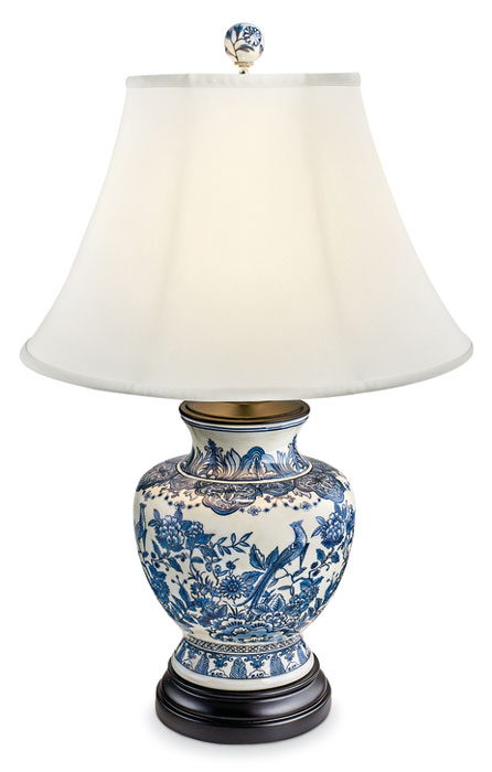 8551: Blue and White Floral Jar Lamp with Birds (Product Detail)