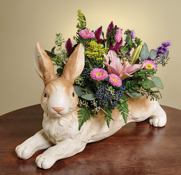 8444: Brown and White Bunny Planter (Product Detail)