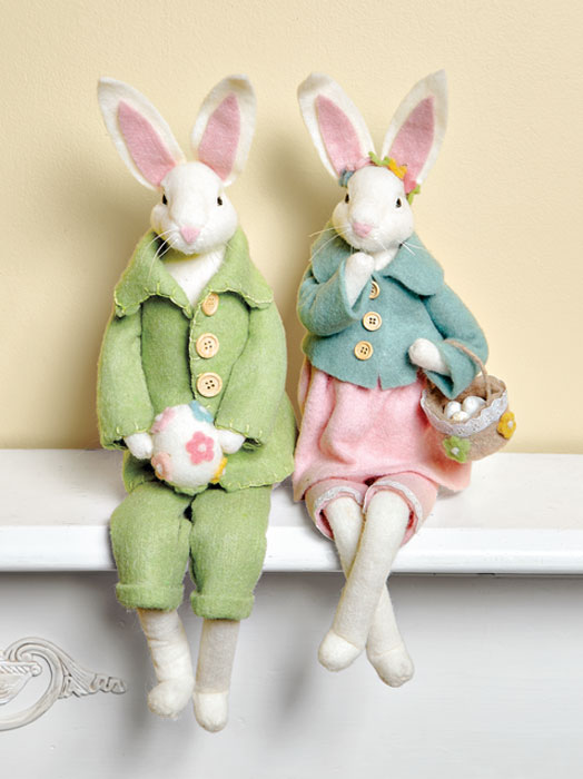 8441: Wool and Felt Bunny Couple (Set of Two) (Product Detail)