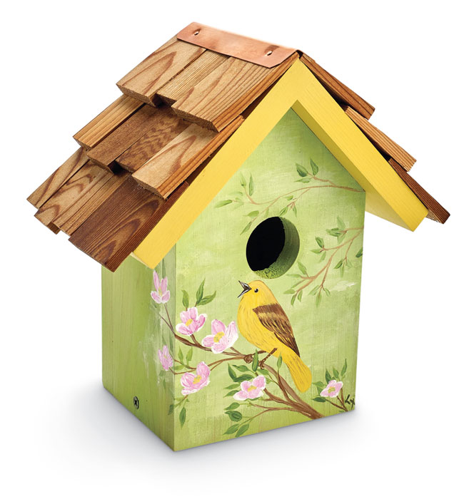 8653: Hand-Painted Warbler and Dogwood Birdhouse (Product Detail)